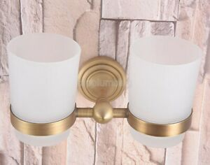 Antique Brass Double Toothbrush Holder Tumbler/ Cup Frosted Glass - Wall Mounted
