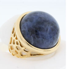 BLUE COCKTAIL RING SODALITE RING ROUND DOME SHAPE BOLD IMPRESSIVE BEAUTY SIZE 7