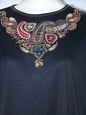 BonWorth Black Embroidered Paisley Short Sleeve Top Womens Size Small 4 6