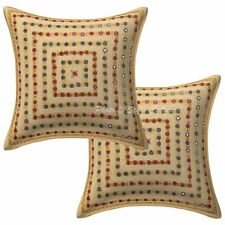 Hand Embroidered Cotton Pillow Case Cover Indian Decorative Cotton Cushions