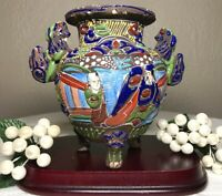 Antique Moriage Japan Satsuma Vase Hand Painted Enamel Footed Foo Dog Handles 6""