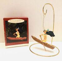 Hallmark 1995 Keepsake Ornament Disney Pocahontas And Flit In Canoe With Box