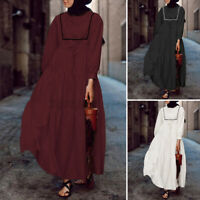 Women Long Sleeve Muslim Abaya Kaftan Casual Loose Kaftan Baggy Tunic Maxi Dress