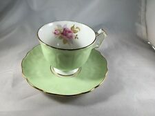 Aynsley Bone China Teacup & Saucer Pale Green w/ Pink Rose in Cup England