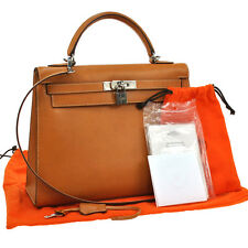 AUTHENTIC HERMES KELLY 32 2WAY HAND BAG BROWN VACHE LIEGEE FRANCE VINTAGE S04046