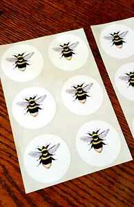 Bumble Bee Seals Vintage Style Envelope Stickers Honey Bee Keeper x24 Crafts
