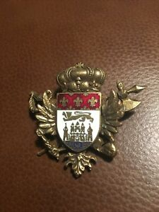 Mens CORO BRAND PIN Royalty Sword w/ Axe & CROWN European Enamel Gold Tone Metal