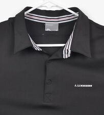J. Lindberg Men's Sz XL Solid Black Embroidered Logo Golf Polo Shirt