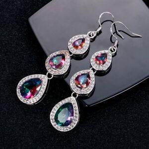925 Silver Pear MYSTICAL Topaz Gemstone Birthstone Drop Dangle Hook Earrings