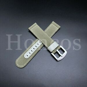 18 20 22 24 MM Canvas Military Leather Watch Band Strap Pilot Vintage Leather
