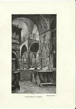 Stampa antica VENEZIA Altare Basilica di San Marco 1887 Old antique print VENICE