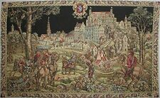 "MEDIEVAL BRUSSELS, THE CAVALIERS 43"" FULLY LINED TAPESTRY WALL HANGING"