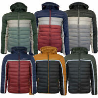 Mens Padded Reflective Jacket Crosshatch Quilted Coat Bubble Puffer Hooded New