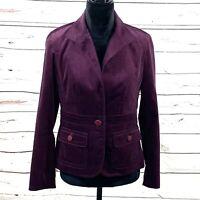 Talbots Petites Women's Blazer Size 6P Purple Velvet One Button Jacket EUC