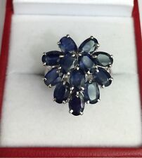 Solid .925 Silver Big Heart Shape Cluster Ring, Natural Sapphire 6TCW, Sz7.25