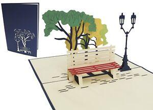 POP UP 3D Klappkarte Bäume-Bank-Laterne* Park Ruhestand Rente Spaziergang Urlaub