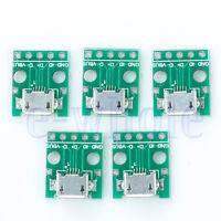 5pcs MICRO USB to DIP Adapter 5pin female connector pcb converter TW