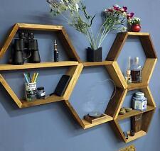 Scaffale esagonale, mensola, libreria. realizzato con listoni in legno massello.