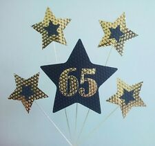 65th BIRTHDAY or ANNIVERSARY CAKE TOPPER. STARS, Gold and Black.