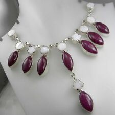 AMAZING HANDCRAFTED DESIGNER MOTHER OF PEARL & RUBY SILVER NECKLACE 18 ""