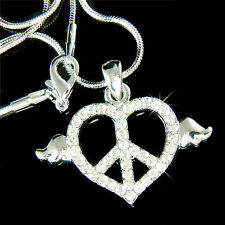 w Swarovski Crystal Heart ~PEACE sign Symbol Wings Hippie Charm Pendant Necklace