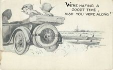 Antique GREETINGS POSTCARD c1921 Dutch Early Auto Car 'Vish You Vere Along'