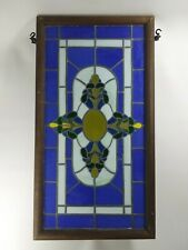 "Stained Glass Transom Window Panel 33"" X 17"" Leaded Contemporary"