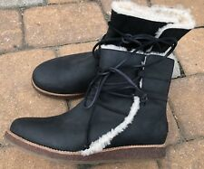 Ugg Boots Size 12 Womens Black Leather Boots Fall Winter