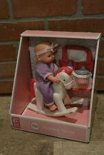 "Circo Target Mini 8"" Baby Doll with Blue Eyes Rocking Horse Diaper Bag Bottles"