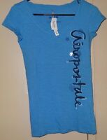 Aeropostale Aero Sleep Girls Womens Size S M Blue Gray Short Sleeve T Shirt New