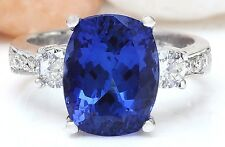 6.82CTW NATURAL TANZANITE AND DIAMOND RING IN 14K WHITE GOLD AAA+++
