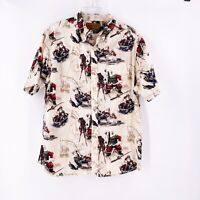 Clearwater Outfitter Santa Claus Fishing Boat Button Up Holiday Shirt Size Large