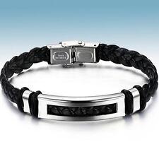 LEDERARMBAND Edelstahl Armband für Männer Herren PU Leder silber Flechtarmband 2