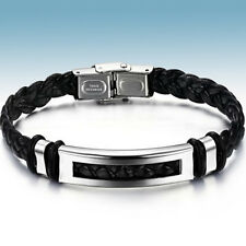 Kunstlederarmband Edelstahl Armband für Männer Herren Damen silber schwarz Nr.2