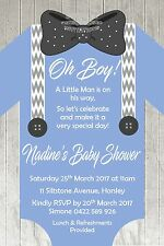 Boy Romper Outfit Baby Shower  Bow Tie Timber Invite Invitation Party Suspenders