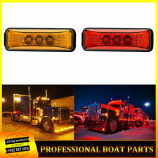 "2x 3.9"" Amber Red Led Side Clearance Marker Lights For Truck Trailer Lorry 12V"