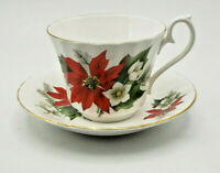Vintage Royal Kendall Fine Bone China Red Poinsettia Tea Cup & Saucer England