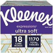 Kleenex Expressions Ultra Soft Facial Tissues, 18 Cube Boxes, 65 Tissues per.