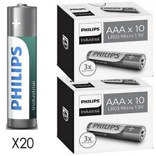 20 AAA Philips Industrial Procell Alkaline Batteries MN2400 LR03