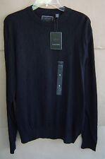 NWT $68 GREG NORMAN Mens M Golf Sweater BLACK (001) Cotton Crewneck