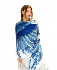 Navy Blue Wings Hand-Painted Scarf Wrap, Silk and Cashmere Blend