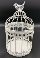 Decorative White Metal Bird Cage With Glass Bird Finial, Great Wedding Decor