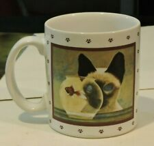 1986 Lowell Herrero Siamese Cat Eyeing Goldfish Coffee Mug 2 sided Japan Vandor