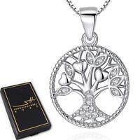 Lebensbaum Halskette 925 Sterling Silber Damen ❤ Swarovski® Kristalle inkl. ETUI