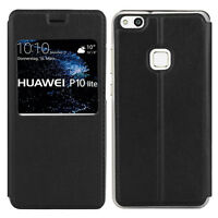 Etui View Case Flip Folio Leather Cover NOIR pour Huawei P10 Lite 5.2""