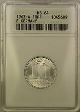 1963-A East Germany 10 PF Pfennig Coin ANACS MS-64 Old Holder JA
