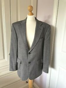 Men's M&S Pure New Wool Tweed Jacket Blazer Black Grey 40S