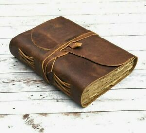 Vintage Leather Journal Notebook Handmade Deckle Edge Paper Leather Bound Books