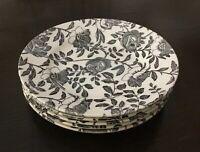 "Set of 5 Churchill BLACK PEONY Dessert / Side Plates 6 5/8"" diameter"