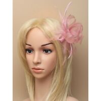 Light Pink Fascinator with Looped Net Ribbon Flower and Feather on a Clear Comb
